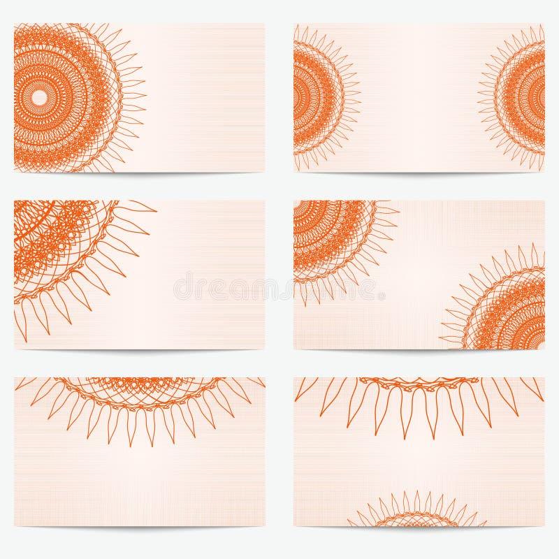 Set rocznik wizytówki Retro kartka z pozdrowieniami lub zaproszenie Wzór w orientalnym stylu ilustracji
