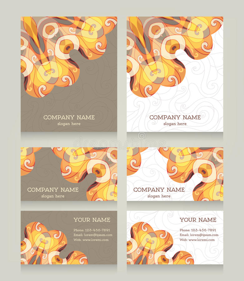 Set rocznik wizytówki w wschodu stylu ilustracji