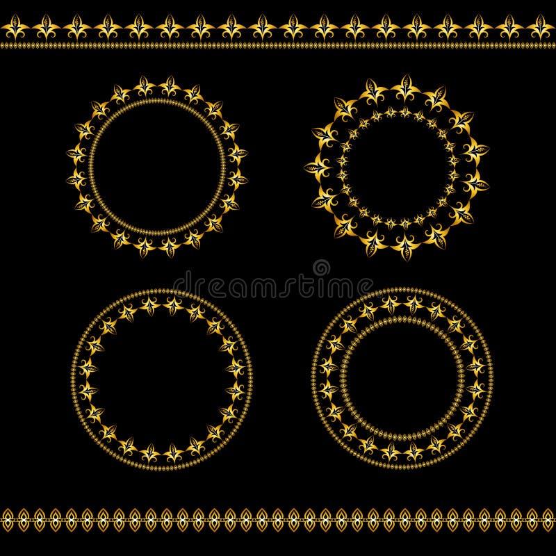 Set rocznik złote ramy linie i zdjęcie royalty free