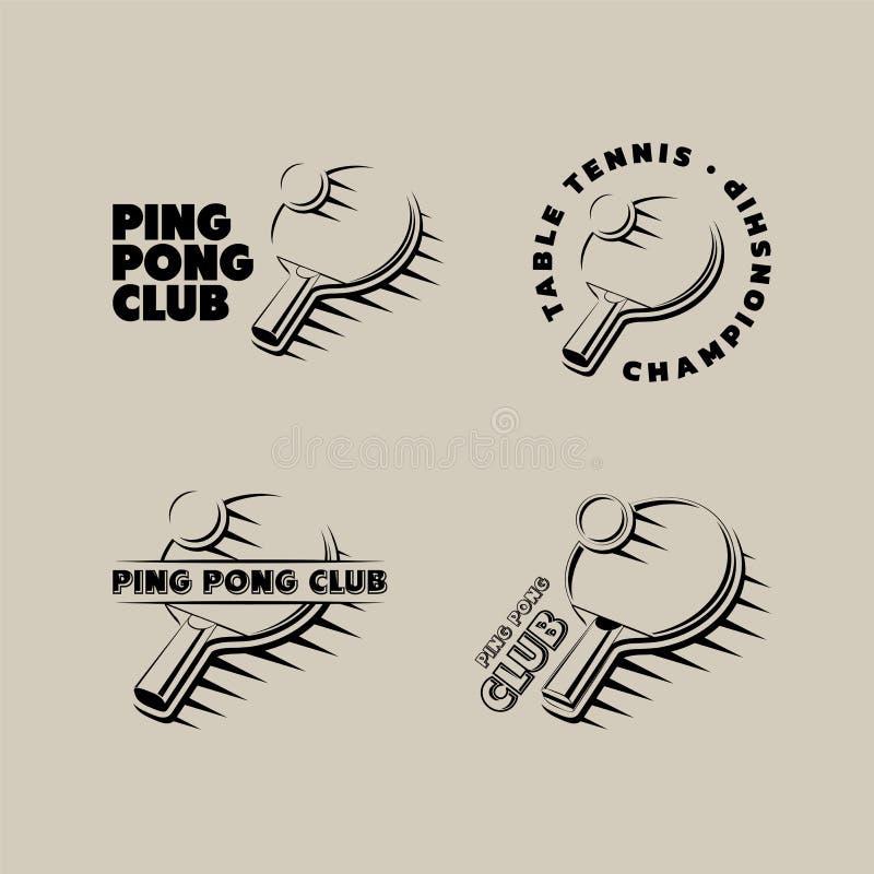Set rocznika śwista pong klub, stołowi tenisowego turnieju logowie, etykietki i odznaki, ilustracji