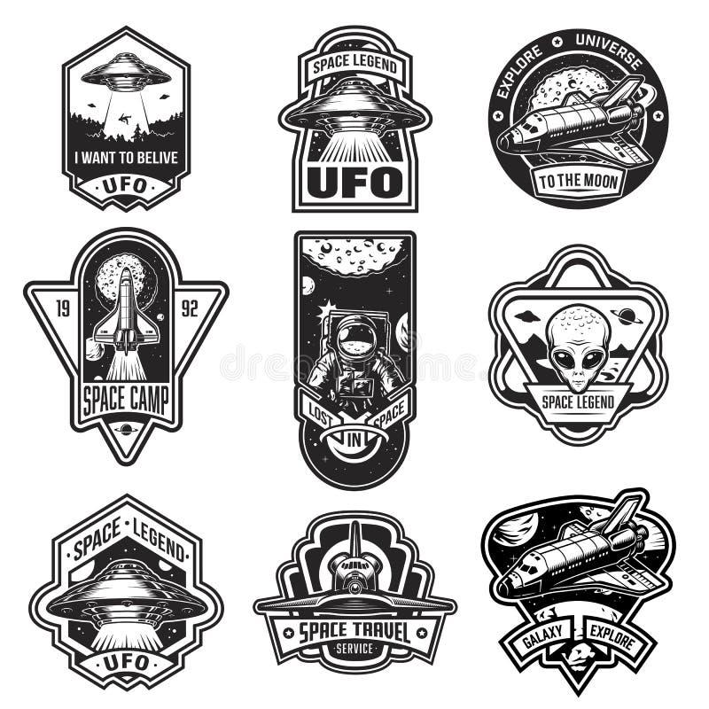 Set rocznika astronauta i przestrzeni odznaki ilustracja wektor