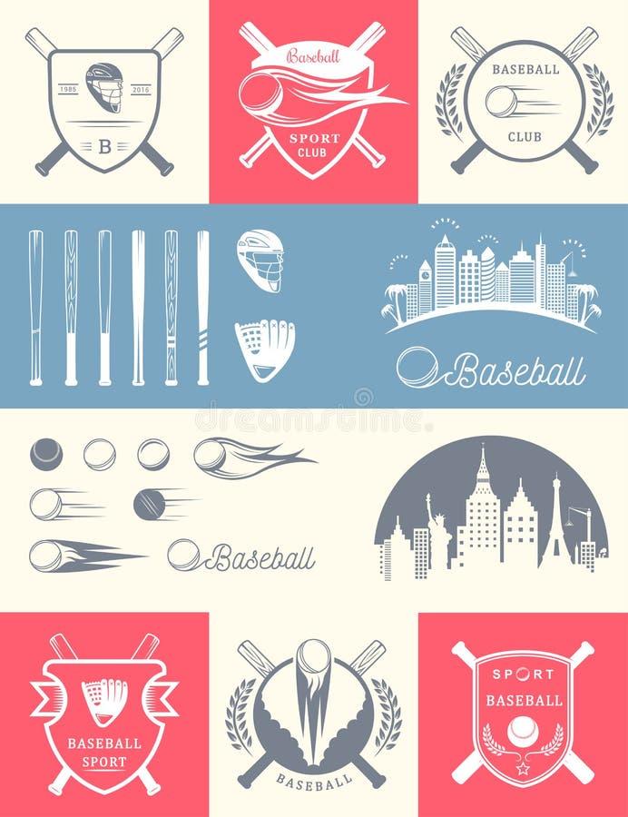 Set rocznika baseballa odznaki i logowie ilustracja wektor
