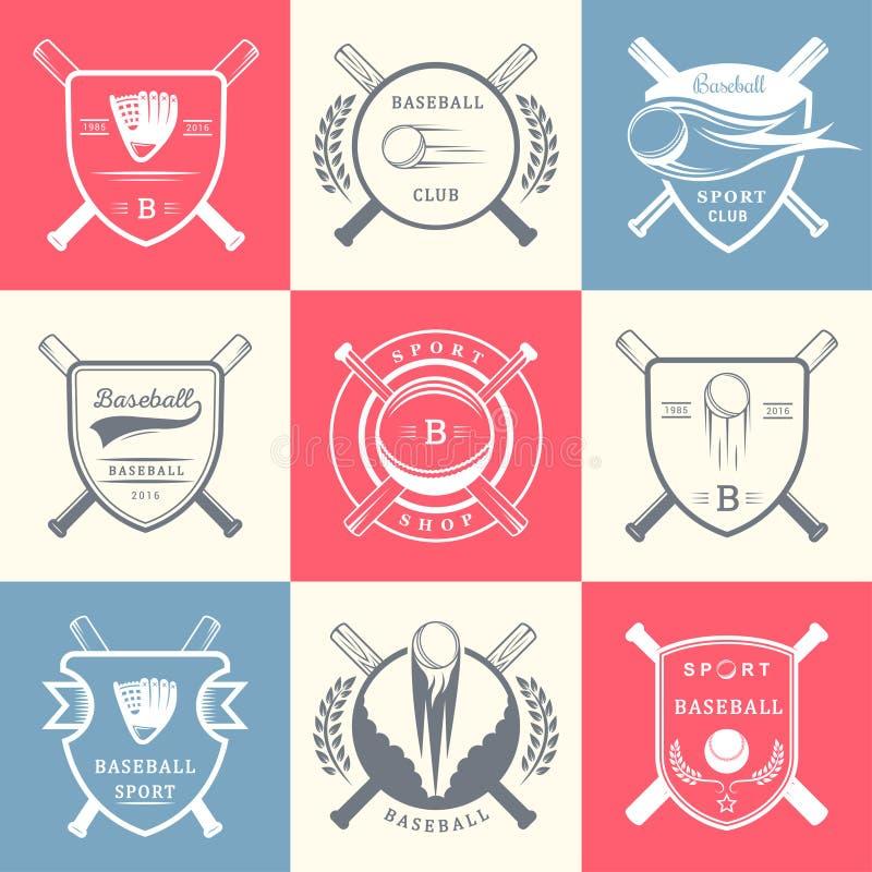 Set rocznika baseballa odznaki i logowie ilustracji
