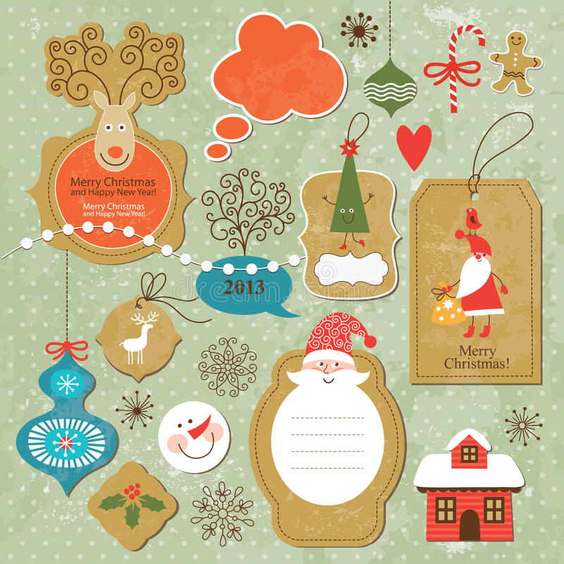 Set rocznika Bożych Narodzeń i Nowego Roku elementy royalty ilustracja