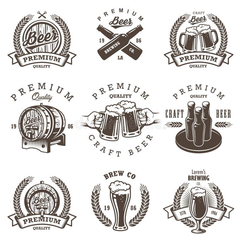 Set rocznika browaru piwni emblematy royalty ilustracja