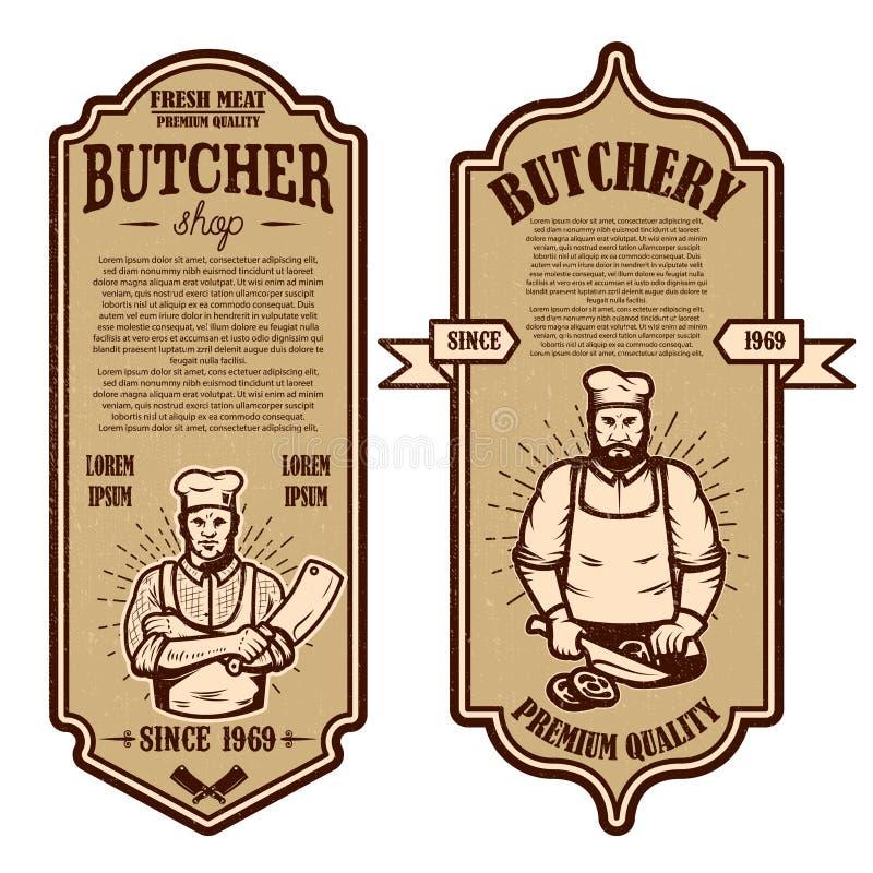Set rocznika butchery i mięsne sklep ulotki Projektuje element dla logo, przylepia etykietkę, podpisuje, odznaka, plakat royalty ilustracja
