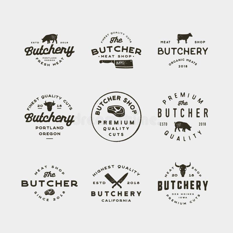 Set rocznika butchery logowie retro projektujący mięsnego sklepu emblematy również zwrócić corel ilustracji wektora ilustracja wektor