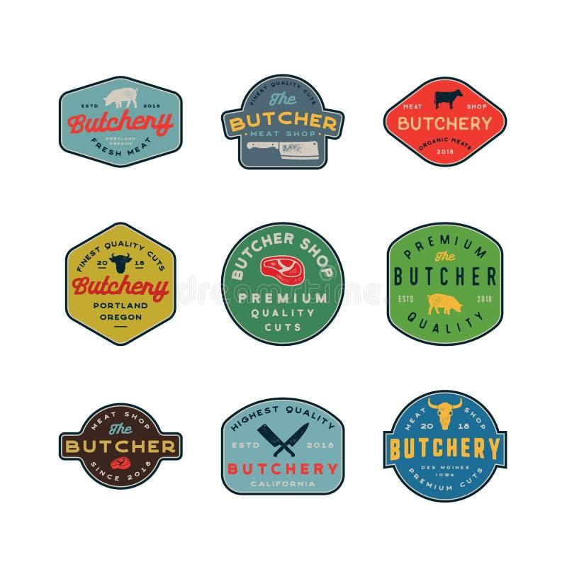 Set rocznika butchery logowie retro projektujący mięsnego sklepu emblematy również zwrócić corel ilustracji wektora ilustracji