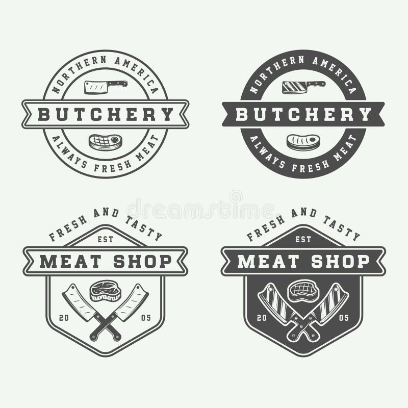 Set rocznika butchery mięsa, stku lub bbq logowie, emblematy, odznaka royalty ilustracja