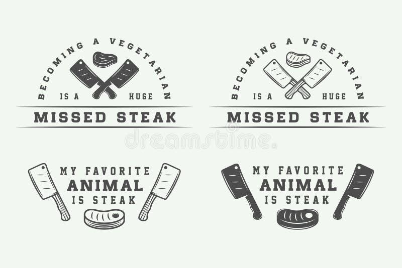Set rocznika butchery mięsa, stku lub bbq logowie, emblematy, odznaka ilustracja wektor