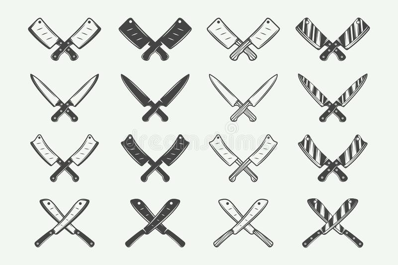 Set rocznika butchery mięsa, stku lub bbq logowie, emblematy, odznaka ilustracji