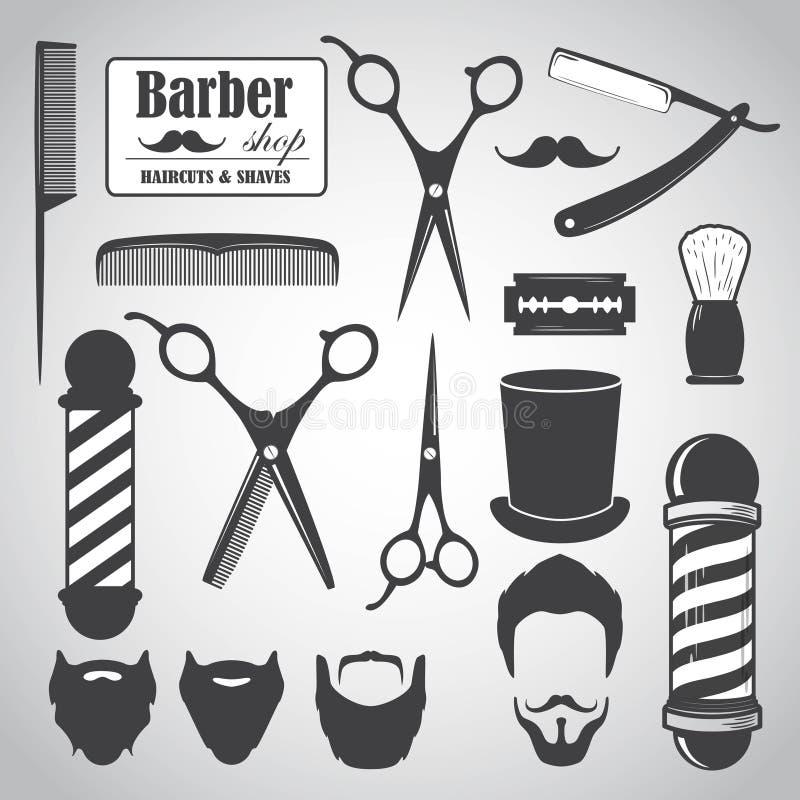 Set rocznika fryzjera męskiego sklepu elementy, ikony, etykietki ilustracji
