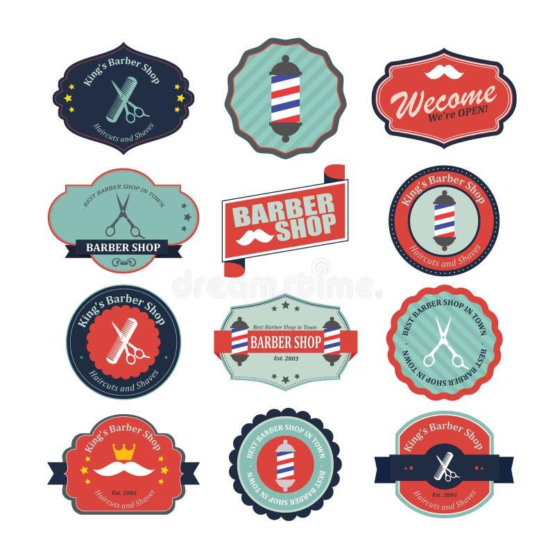 Set rocznika fryzjera męskiego sklepu loga ikony i grafika ilustracji