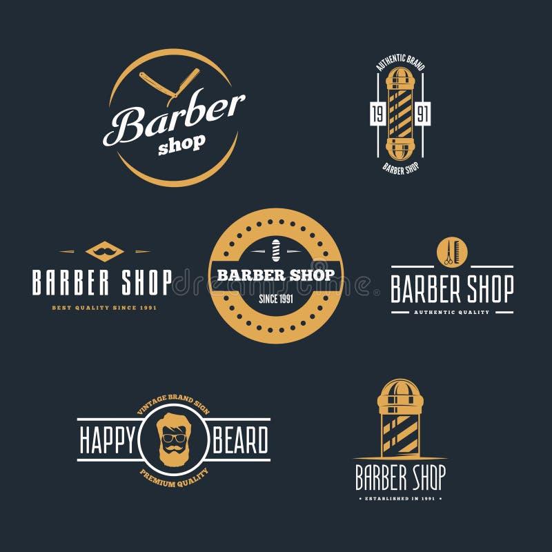 Set rocznika fryzjera męskiego sklepu logo, etykietki, odznaki i projekta element, royalty ilustracja