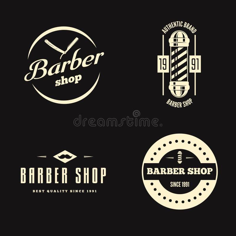 Set rocznika fryzjera męskiego sklepu logo, etykietki, odznaki i projekta element, ilustracja wektor