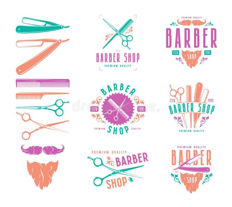 Set rocznika fryzjera męskiego sklepu odznaki royalty ilustracja