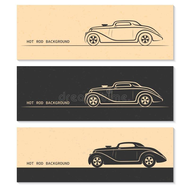 Set rocznika gorącego prącia samochodu retro sylwetki royalty ilustracja