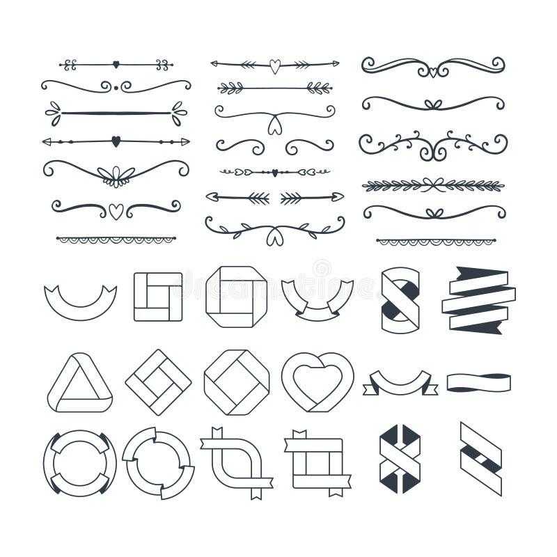Set rocznika handraw logo royalty ilustracja