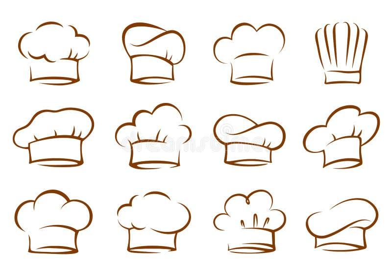 Set rocznika kucharza i szefa kuchni kapelusze ilustracji