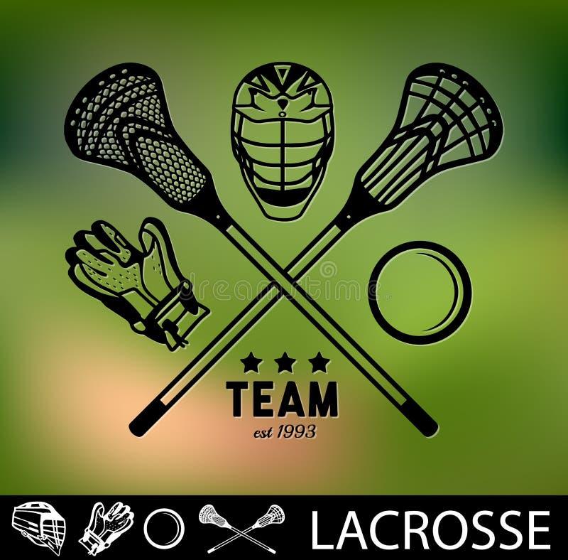 Set rocznika lacrosse odznaki i etykietki ilustracja wektor