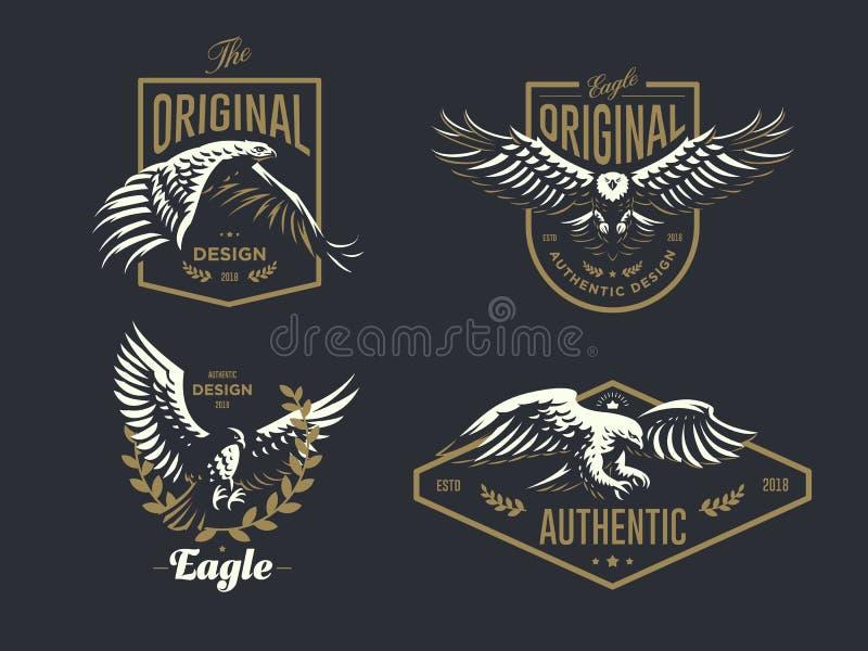 Set rocznika logo z orłem ilustracja wektor