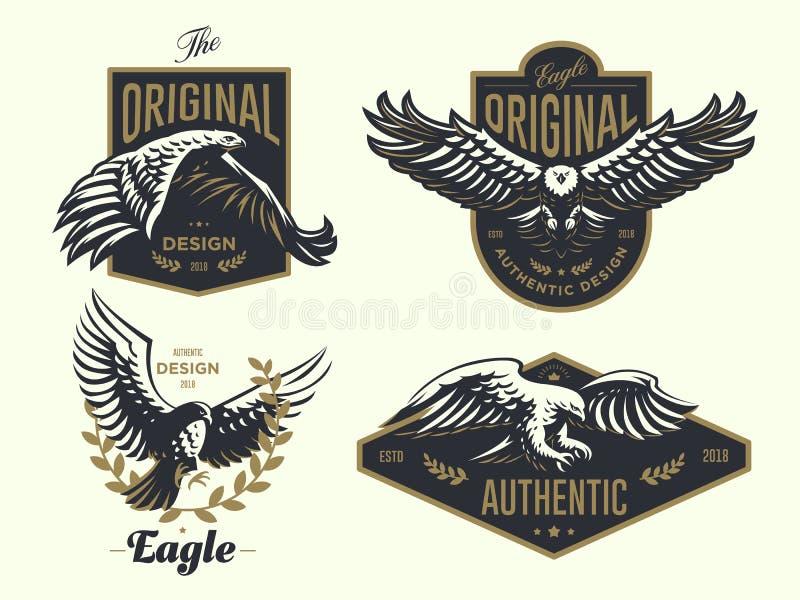 Set rocznika logo z orłem ilustracji