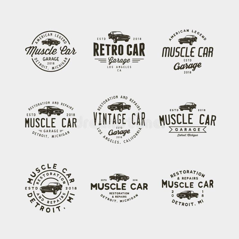 Set rocznika mięśnia garażu samochodowi logowie również zwrócić corel ilustracji wektora ilustracja wektor
