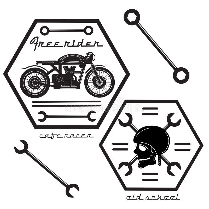 Set rocznika motocyklu etykietki obraz stock