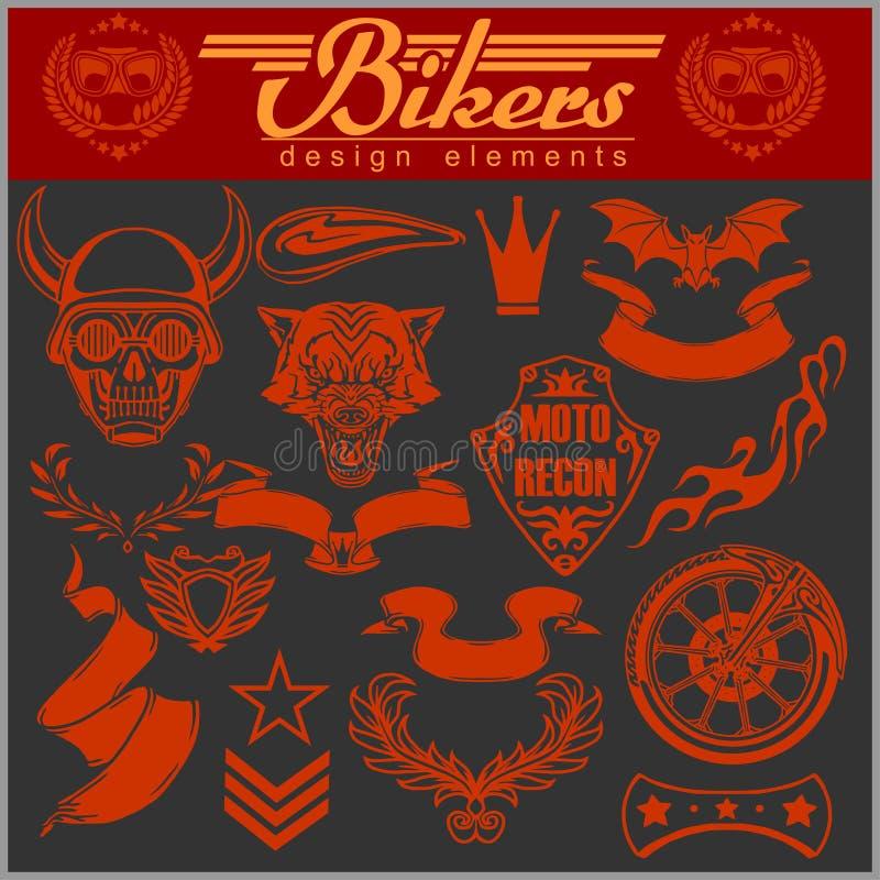 Set rocznika motocyklu projekta elementy dla emblematów i etykietek ilustracja wektor
