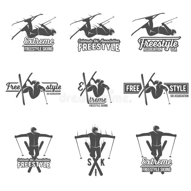 Set rocznika narciarstwa etykietki i projektów elementy royalty ilustracja