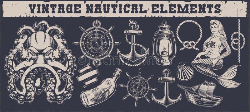 Set rocznika nautyczni elementy na ciemnym tle royalty ilustracja