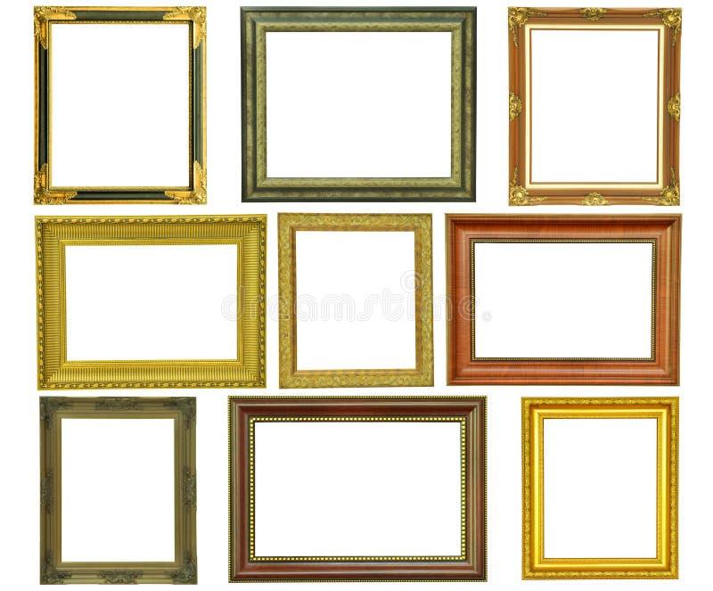 Set rocznika obrazka złocista rama odizolowywająca obrazy royalty free