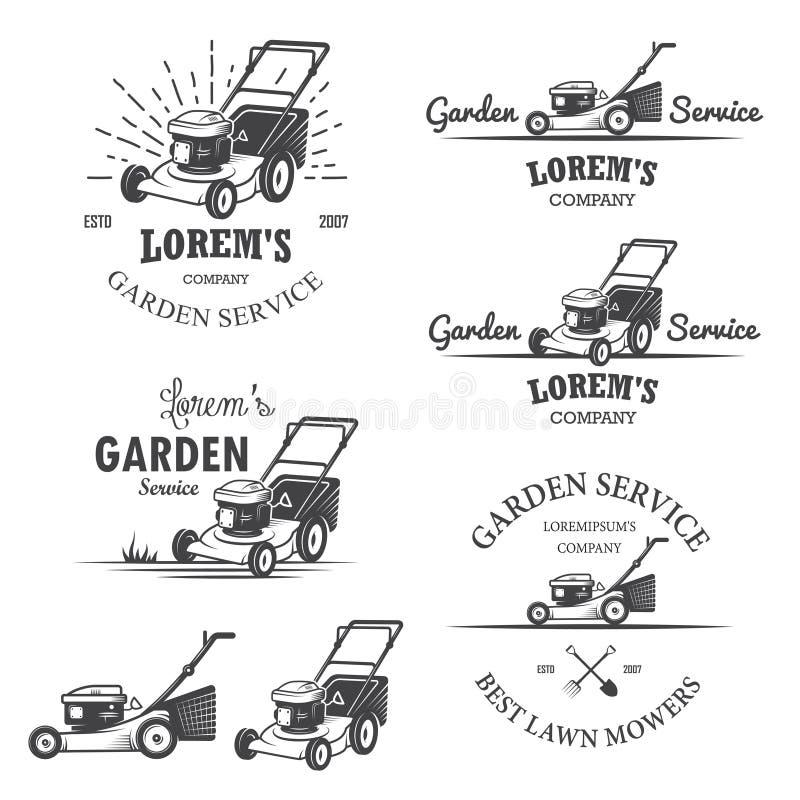 Set rocznika ogródu usługa emblematy ilustracji