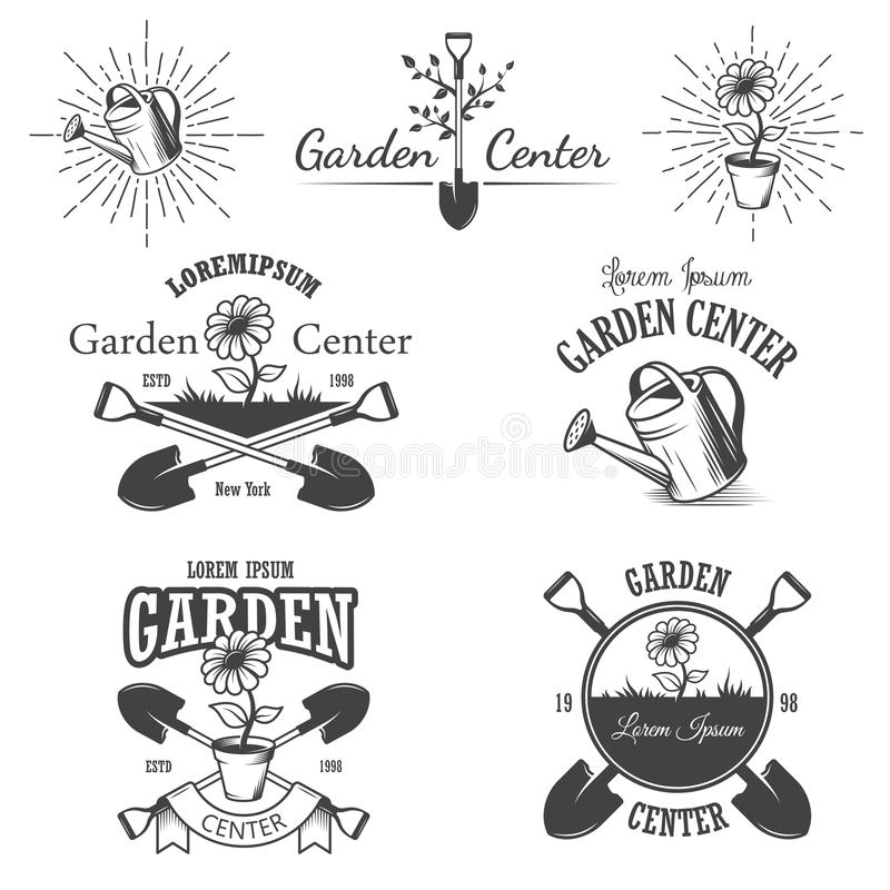 Set rocznika ogrodowego centrum emblematy ilustracja wektor