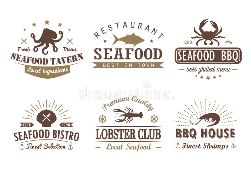Set rocznika owoce morza, grill, logów szablony ilustracja wektor