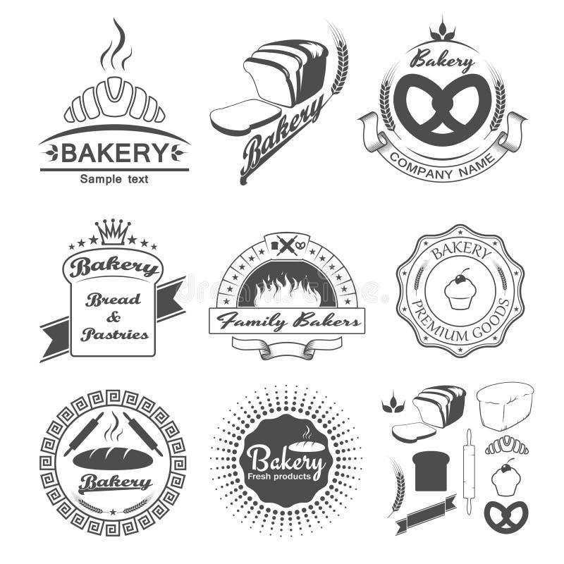 Set rocznika piekarni etykietki ilustracji