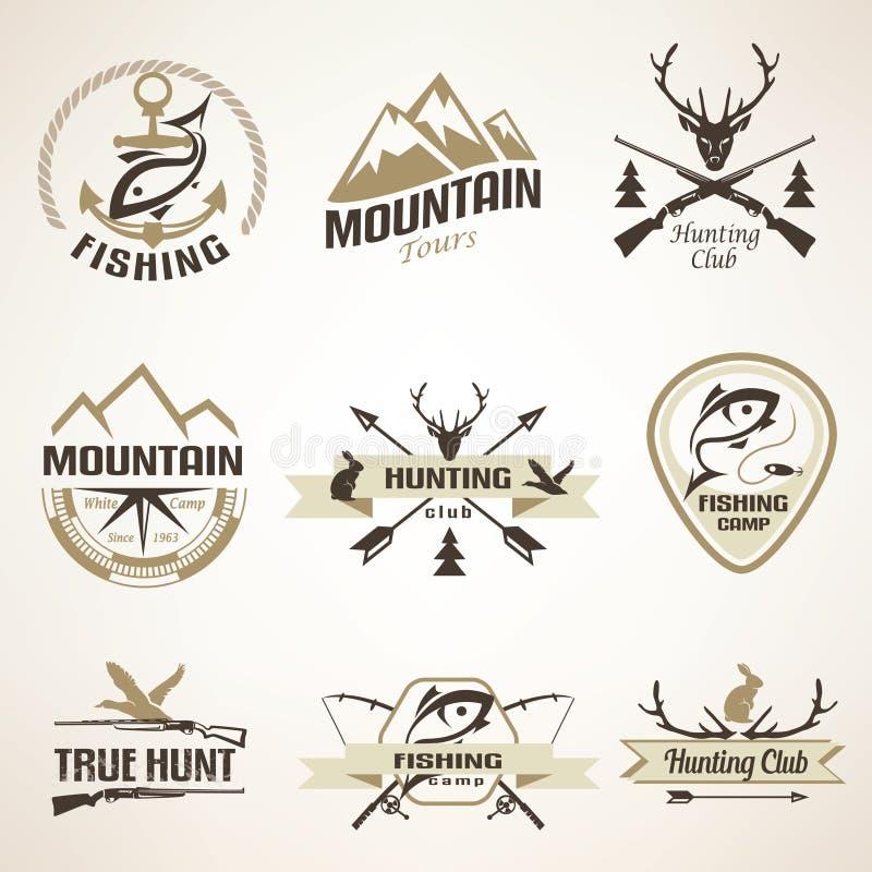 Set rocznika połowu i polowania emblematy ilustracji