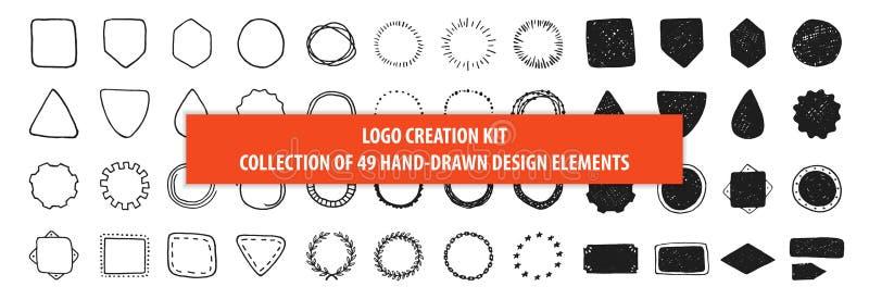 Set 49 rocznika projekta ręki rysujących wektorowych elementów, znaki ilustracji