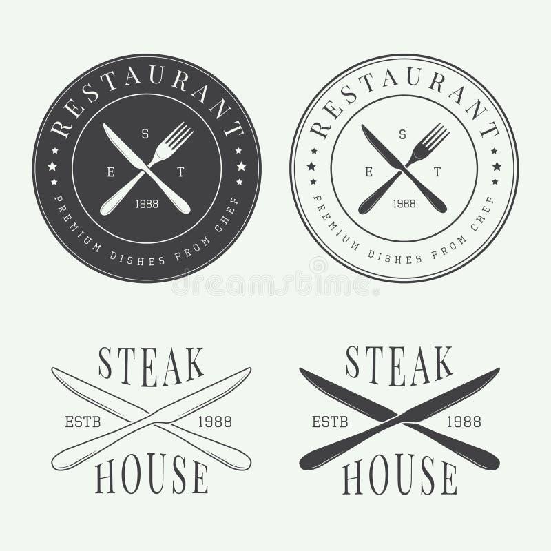 Set rocznika restauracyjny logo, odznaka i emblemat, ilustracja wektor