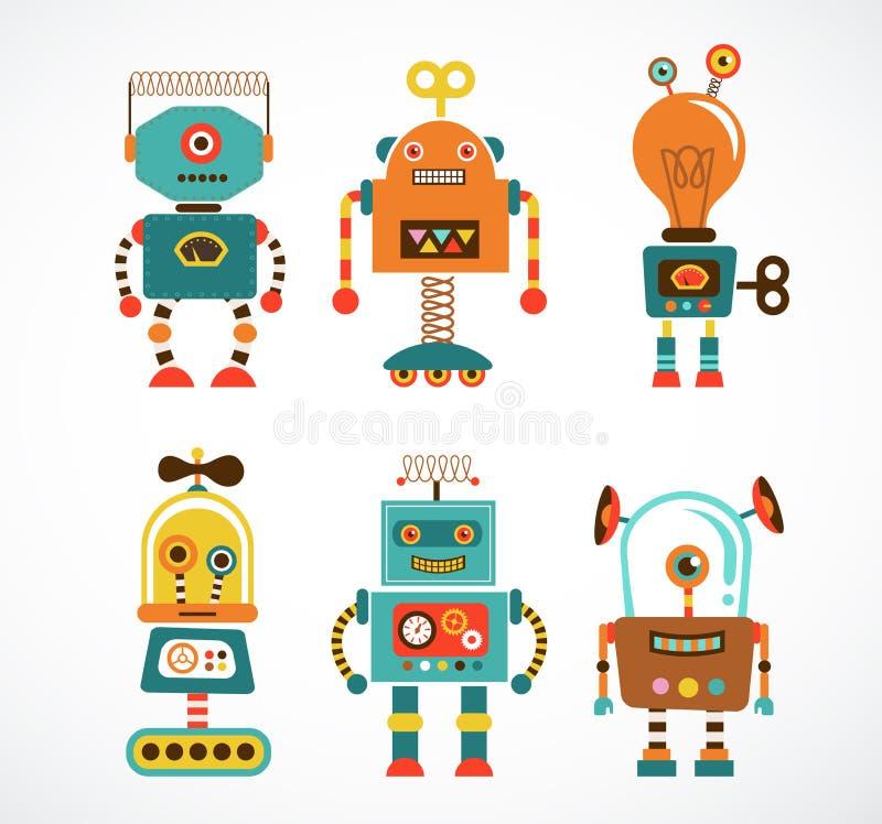 Set rocznika robota ikony ilustracja wektor