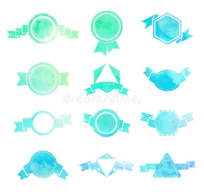 Set rocznika round, trójbok i h błękita i zieleni, ilustracja wektor