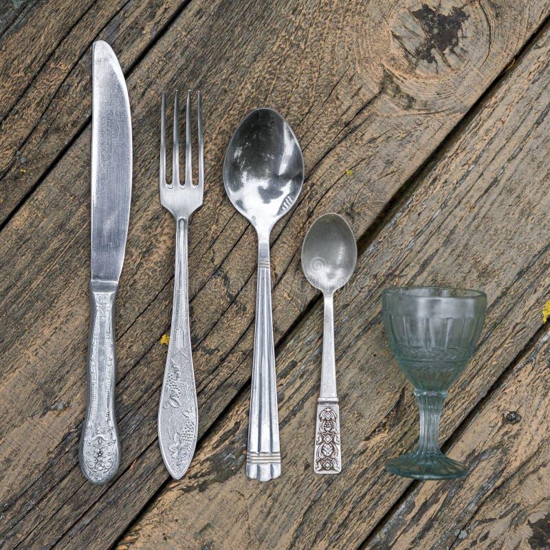 Set rocznika silverware kuchni naczynia zdjęcia stock