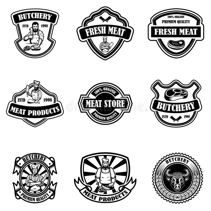 Set rocznika sklepu mięsne etykietki Projektuje element dla logo, emblemat, znak, plakat ilustracja wektor