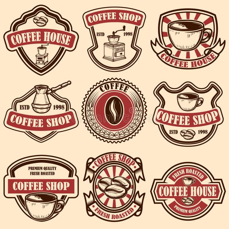 Set rocznika sklepu z kawą emblematy Projektuje elementy dla loga, przylepia etykietkę, podpisuje, odznaka ilustracji