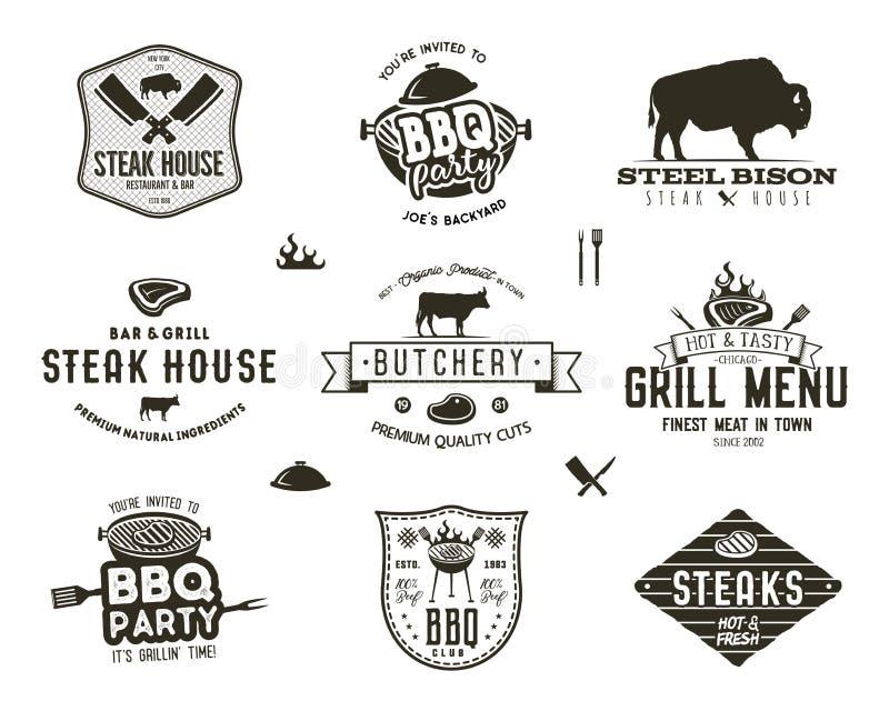 Set rocznika steakhouse, bbq przyjęcie, grilla grilla odznaki, etykietki Retro ręka rysujący typografia styl Masarka logo ilustracja wektor