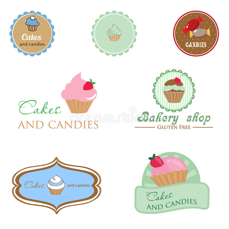 Set rocznika stylu logo z babeczką i cukierkami ilustracji