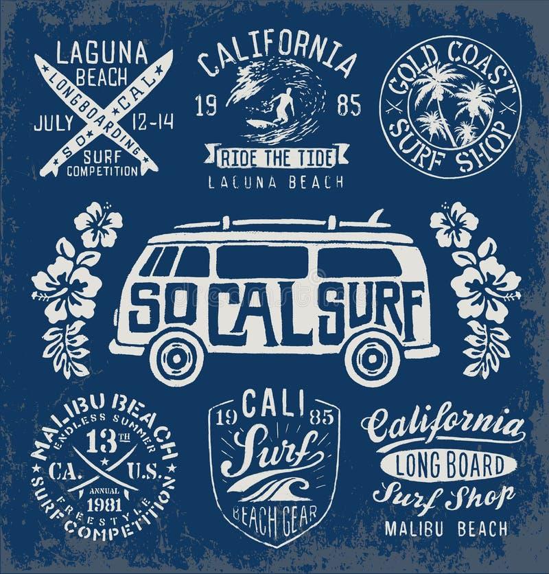 Set rocznika surfingu emblematy i grafika ilustracji