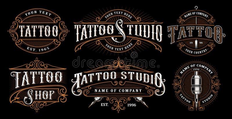 Set rocznika tatuażu emblematy zdjęcie royalty free