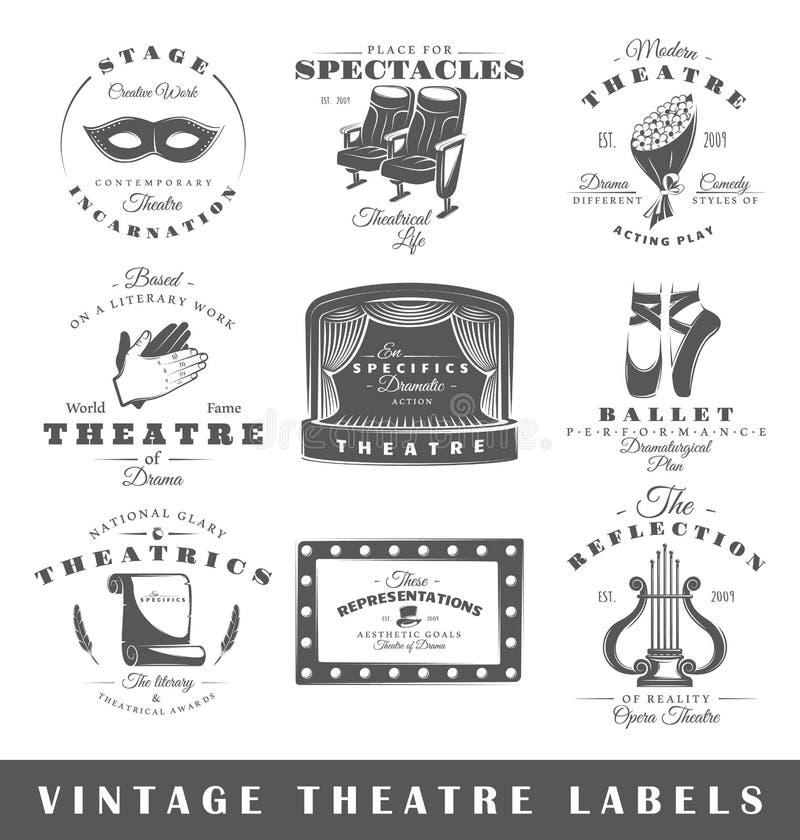 Set rocznika theatre etykietki ilustracja wektor
