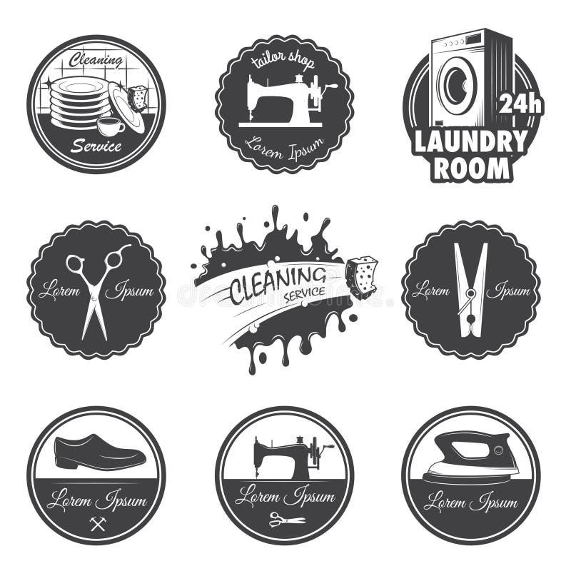 Set rocznika warsztata emblematy ilustracja wektor